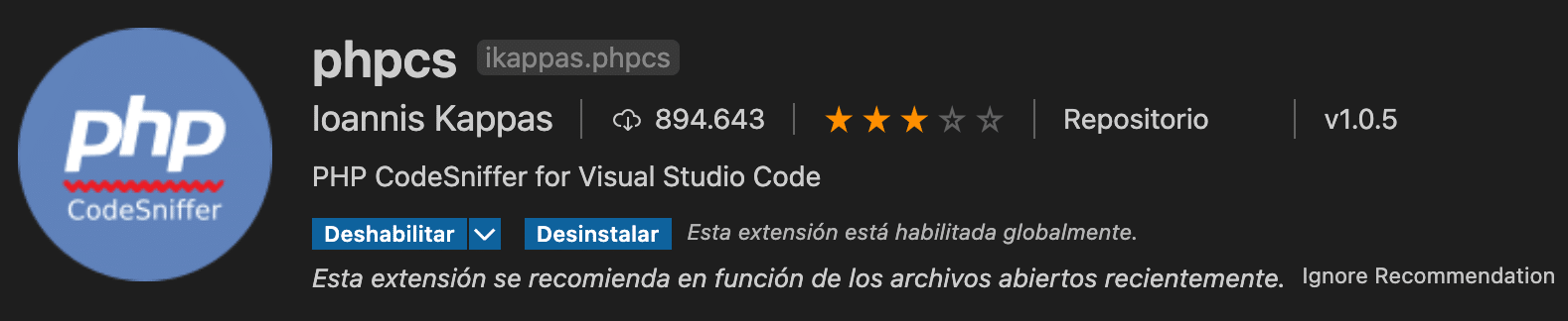 extension phpcs vscode